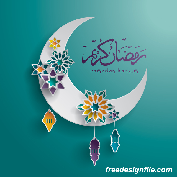 Ramadan background with moon star decorative vector 01