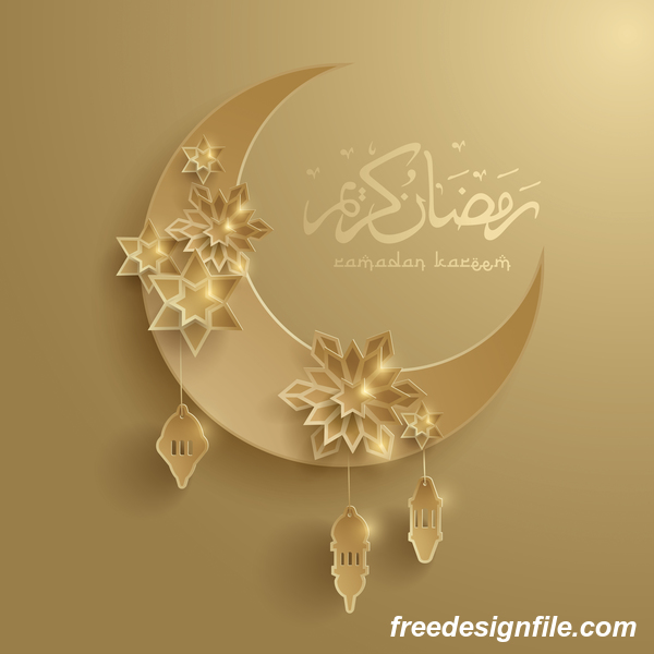 Ramadan background with moon star decorative vector 02