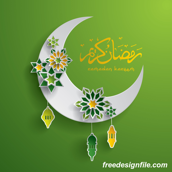 Ramadan background with moon star decorative vector 03