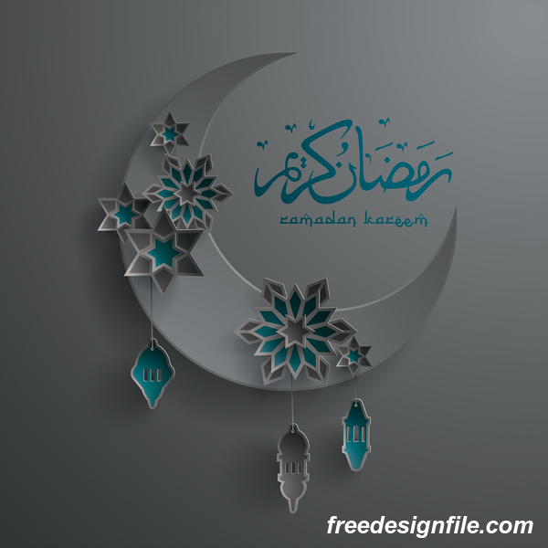 Ramadan background with moon star decorative vector 04