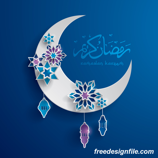 Ramadan background with moon star decorative vector 05