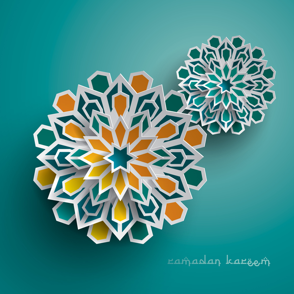 Ramadan background with paper cut flower vector 01