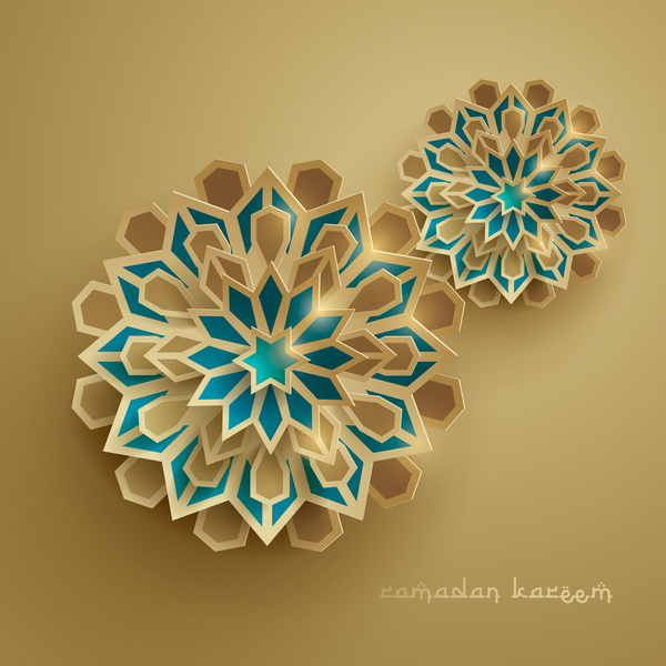 Ramadan background with paper cut flower vector 02