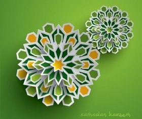 Ramadan background with paper cut flower vector 03