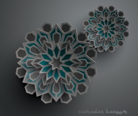 Ramadan background with paper cut flower vector 11