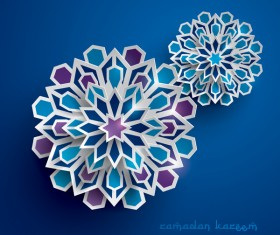 Ramadan background with paper cut flower vector 05