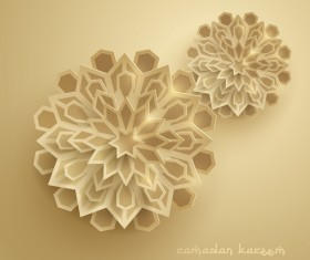 Ramadan background with paper cut flower vector 07