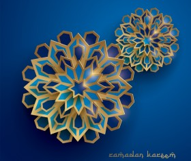 Ramadan background with paper cut flower vector 08