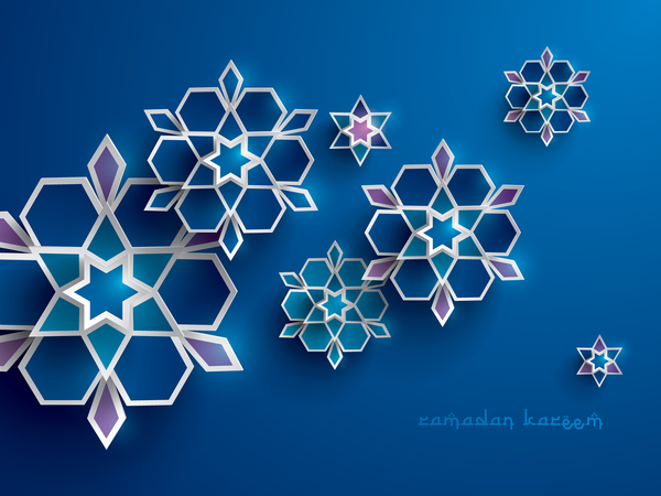 Ramadan background with paper cut flower vector 09