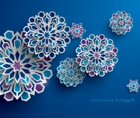 Ramadan background with paper cut flower vector 10