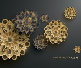 Ramadan background with paper cut flower vector 15