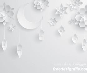 Ramadan background with white decor glantern vector