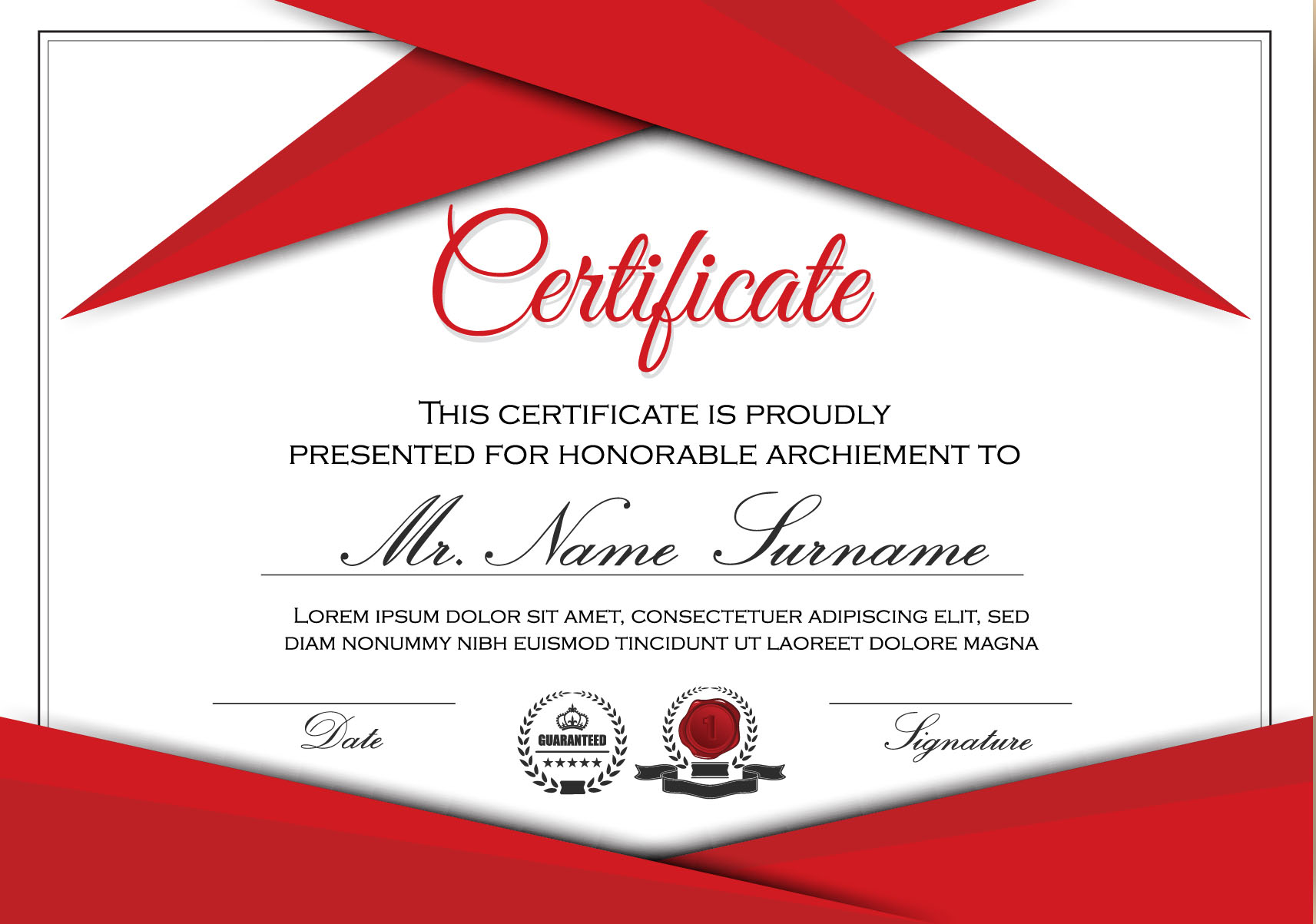 Red styles certificate template vector 04
