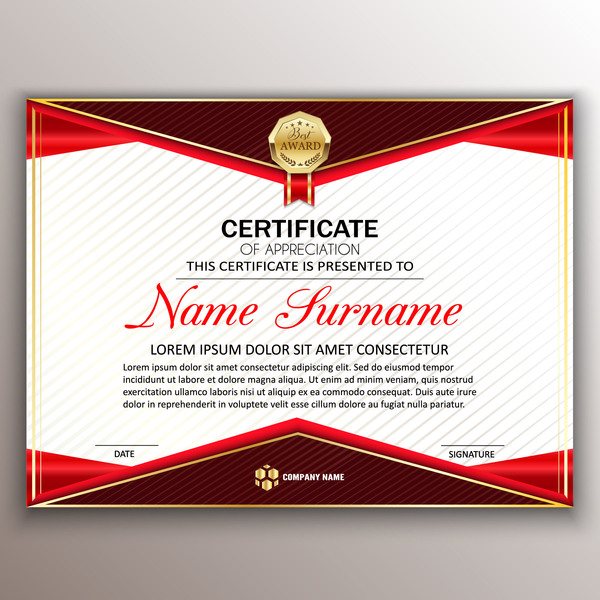 Red Styles Certificate Template Vector 05 Vector