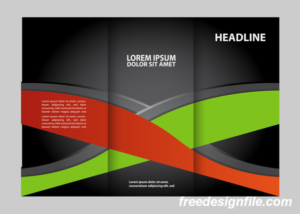 Red with black and green cover for flyer with brochure vector 01