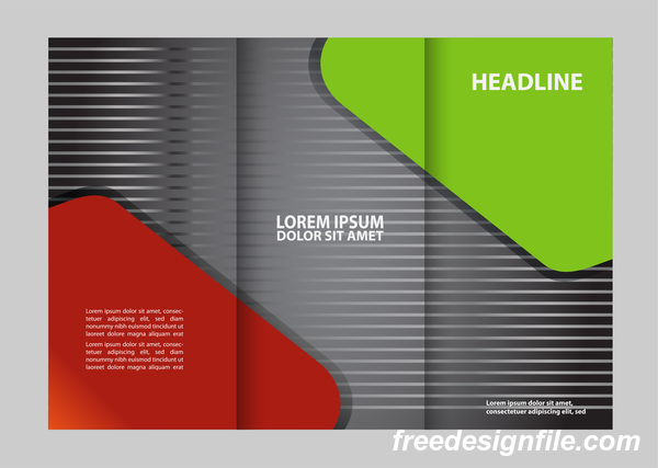 Red with black and green cover for flyer with brochure vector 02
