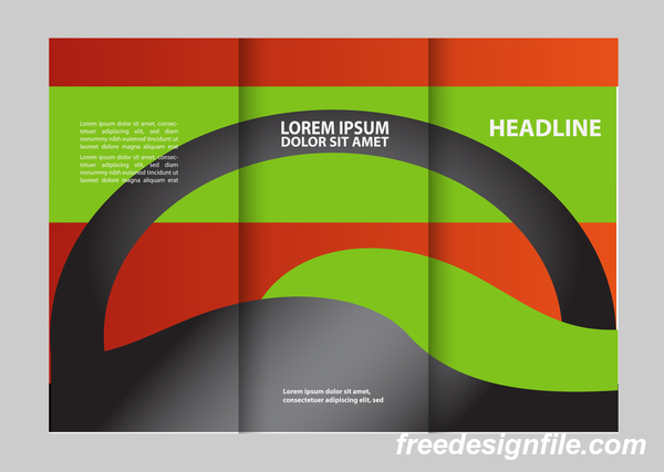 Red with black and green cover for flyer with brochure vector 03