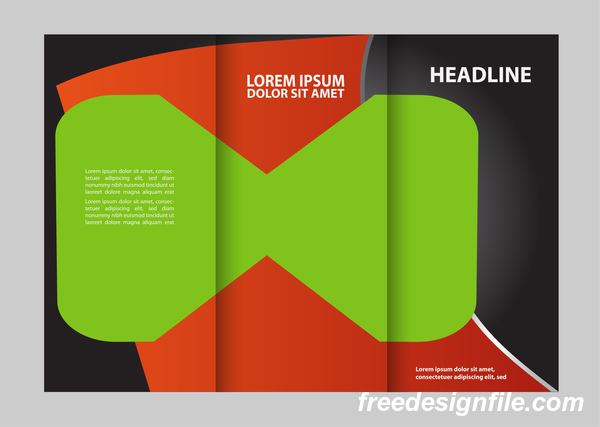 Red with black and green cover for flyer with brochure vector 04