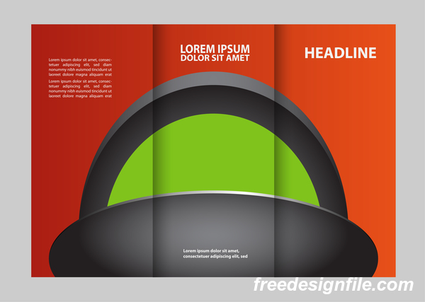 Red with black and green cover for flyer with brochure vector 05