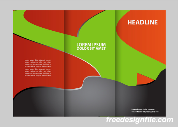 Red with black and green cover for flyer with brochure vector 06