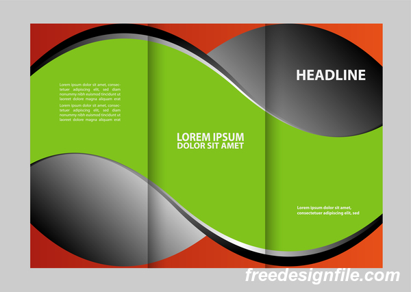 Red with black and green cover for flyer with brochure vector 07