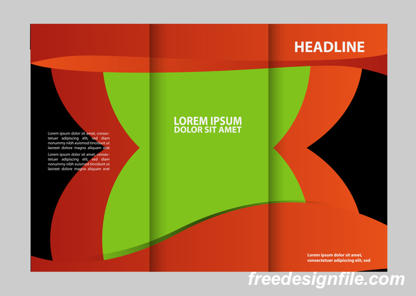 Red with black and green cover for flyer with brochure vector 08