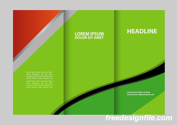 Red with black and green cover for flyer with brochure vector 09