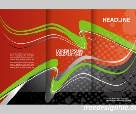 Red with black and green cover for flyer with brochure vector 10
