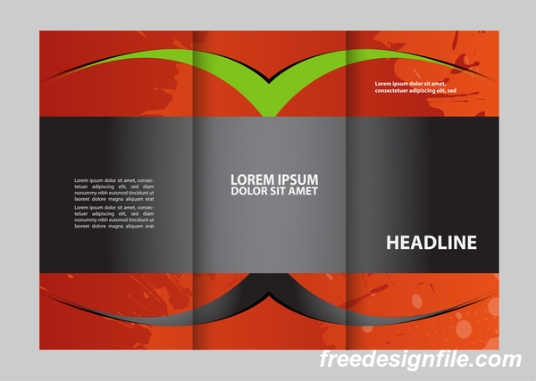 Red with black and green cover for flyer with brochure vector 11