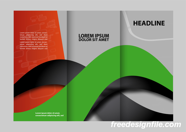 Red with black and green cover for flyer with brochure vector 12