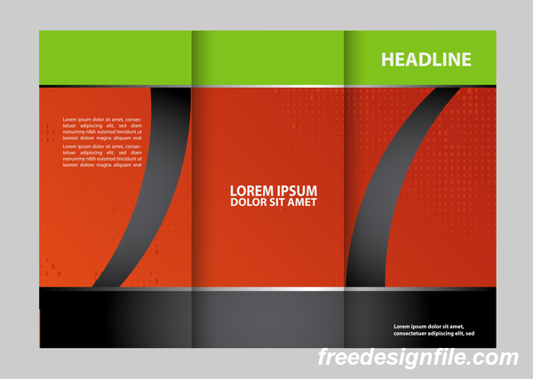Red with black and green cover for flyer with brochure vector 13