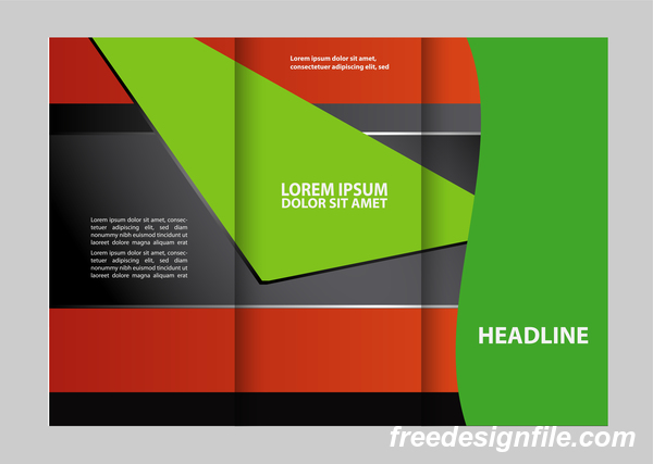 Red with black and green cover for flyer with brochure vector 14