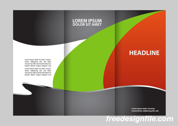 Red with black and green cover for flyer with brochure vector 15