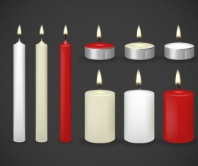 Red with white candle vector material