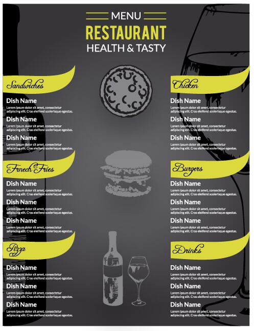 Restaurant menu dark styles vector