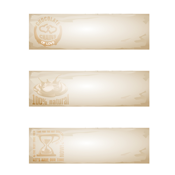Retro paper with chocolate banners vector