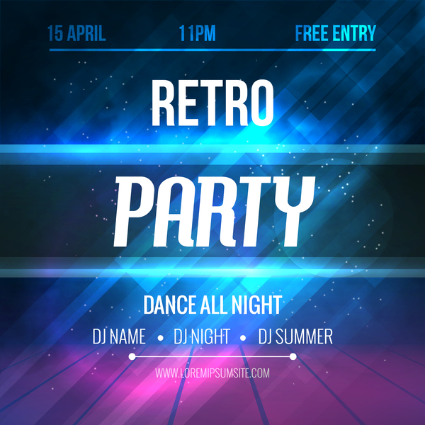 Retro party poster template vectors