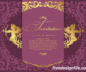 Retro purple invitation card vector material 01