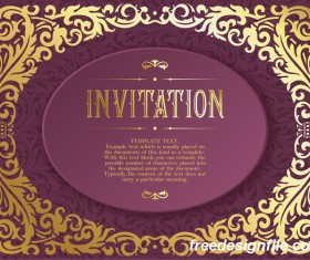 Retro purple invitation card vector material 02