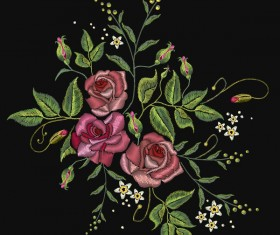 Roses embroidery vector material 01