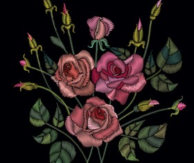 Roses embroidery vector material 02