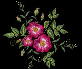 Roses embroidery vector material 03