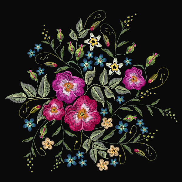 Roses embroidery vector material 04