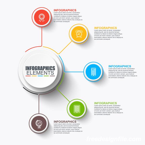 Round media infographic vector 02