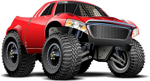 SUV monster cars cartoon vector material 01