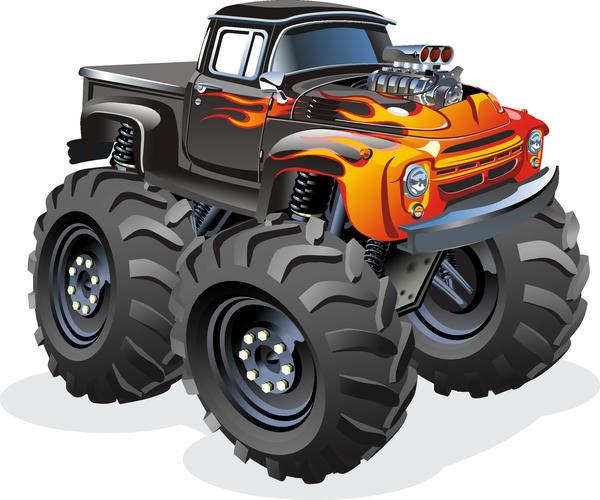 SUV monster cars cartoon vector material 02