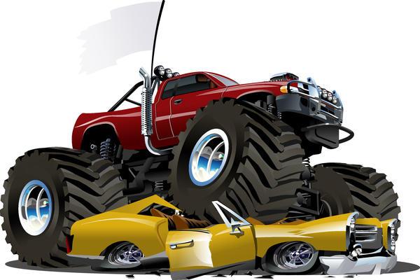 SUV monster cars cartoon vector material 03
