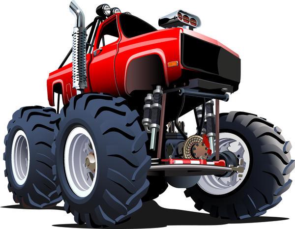 SUV monster cars cartoon vector material 04