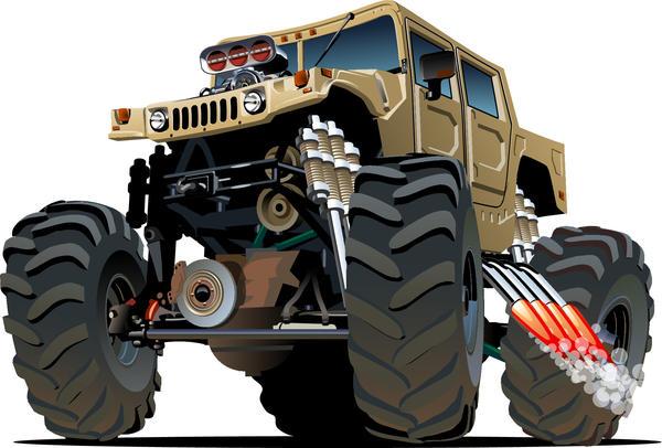 SUV monster cars cartoon vector material 10