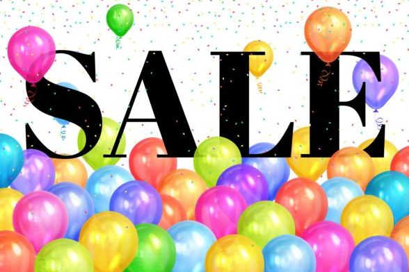 Sale background with colorful balloon vector 01